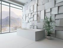 与浴缸的现代抽象卫生间内部 免版税图库摄影