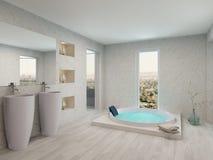 与浴缸的纯净的干净的白色卫生间内部 库存照片