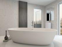 与浴缸的纯净的干净的白色卫生间内部 免版税图库摄影