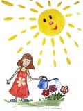 与水罐头的女孩浇灌的花 库存图片