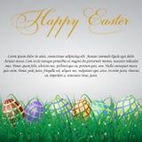 与滤网的复活节彩蛋在白色光亮的背景机智的草 免版税库存图片