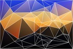 与滤网的蓝色橙黄黑几何背景 图库摄影