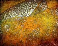 与滤网结构的抽象金黄背景 免版税库存照片