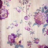 与紫罗兰色花卉维多利亚女王时代的葡萄酒破旧的别致的米黄墙纸 库存照片