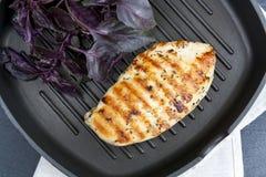 与紫罗兰色蓬蒿的烤鸡胸脯牛排在聚四氟乙烯平底锅gri 库存图片