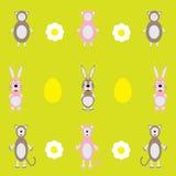 与绵羊和兔子的五颜六色的背景 免版税库存照片
