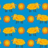 与绵羊和羊毛的无缝的样式 库存例证