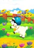 与绵羊在农场-圆盘的动画片例证 免版税库存照片