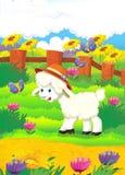 与绵羊在农场- illu的动画片例证 免版税库存照片