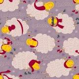 与绵羊的无缝的样式在冬天衣裳 免版税库存照片