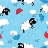 与绵羊的无缝的蓝色墙纸 库存照片