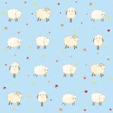 与绵羊的蓝色婴儿墙纸 免版税库存图片