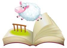 与绵羊跳跃的一本书 免版税库存照片