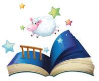与绵羊跳跃的一本书 库存图片