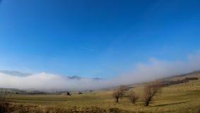 与绵羊雾的小山 免版税库存照片