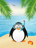 与水肺面具的企鹅 免版税库存图片