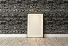 与黑自然砖墙, backgr的黑画框装饰 免版税库存图片