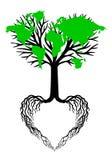 与绿色世界地图,传染媒介的心脏树 免版税库存照片