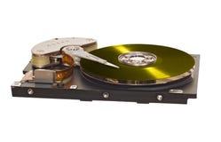与黄色乙烯基盘的硬盘驱动器而不是磁片 库存照片