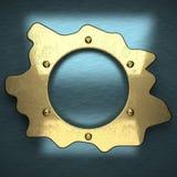 与黄色元素的蓝色金属背景 库存图片