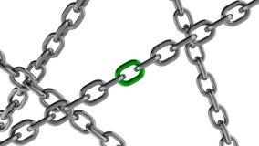 与绿色元素的链连接 免版税库存图片