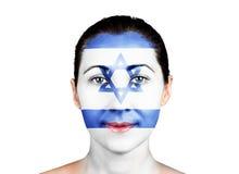 与以色列旗子的面孔 图库摄影