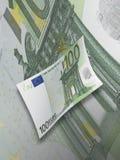 与绿色口气的一百欧元票据拼贴画 免版税库存图片