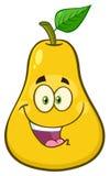 与绿色叶子动画片吉祥人字符的愉快的黄色梨果子 免版税库存照片