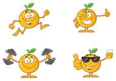 与绿色叶子动画片吉祥人字符3的橙色新鲜水果 收集集 向量例证