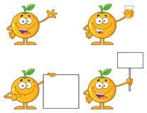 与绿色叶子动画片吉祥人字符1的橙色新鲜水果 收集集 皇族释放例证