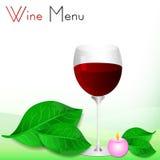 与绿色叶子和杯的抽象白色背景红葡萄酒 免版税库存图片