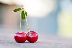 与绿色叶子的两2个红色樱桃莓果 成熟果子宏观视图照片 选择聚焦,浅景深 库存图片