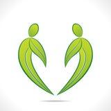 与绿色叶子的创造性的绿色人标志设计 库存图片