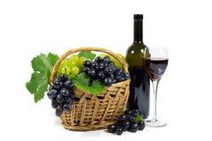 与绿色叶子的新鲜的红色和白葡萄在柳条筐、酒杯杯和酒瓶充满被隔绝的红葡萄酒 免版税图库摄影