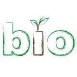 与绿色叶子的生物文本 库存照片