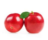 与绿色叶子的红色苹果在白色背景 免版税库存照片