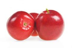 与绿色叶子的红色苹果在白色背景 免版税库存图片