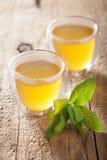 与绿色叶子的草本贤哲茶在玻璃杯子 库存照片