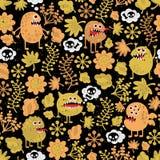 与黄色叶子的逗人喜爱的妖怪纹理。 免版税库存照片