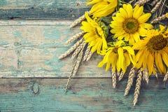 与黄色向日葵和麦子耳朵花束的背景  免版税库存照片