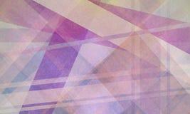 与紫色和白色条纹的抽象几何背景渔线和形状 库存照片