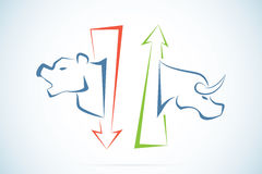 与绿色和红色箭头、股市和企业概念的牛市与熊市标志 向量例证
