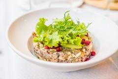 与绿色和莓果的土豆肉沙拉 库存照片