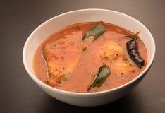 与绿色咖喱叶子的辣和热的国王鱼咖喱 库存照片