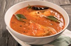 与绿色咖喱叶子的辣和热的国王鱼咖喱 免版税库存图片