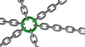 与绿色圆环元素的链连接 库存照片