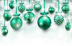 与绿色圣诞节球的弧背景 库存例证