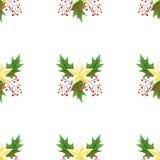 与绿色圣诞节霍莉的无缝的背景分支,莓果和金黄星 原始的水彩手拉的样式 库存照片
