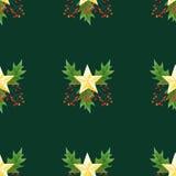 与绿色圣诞节霍莉的无缝的背景分支,莓果和金黄星 原始的水彩手拉的样式 库存图片