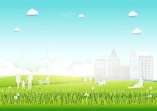 与绿色城市和树的生态概念 纸艺术样式 免版税库存照片